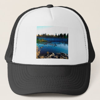 Water Front View City Barrier Trucker Hat
