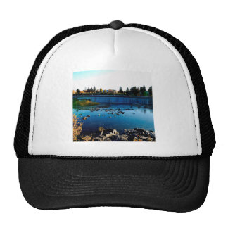 Water Front View City Barrier Trucker Hat