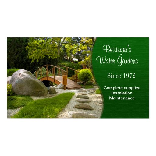 Water Garden and Landscaping Business Cards