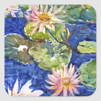 Water Garden in Watercolor Square Sticker