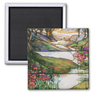 Water Garden Stained Glass Magnet