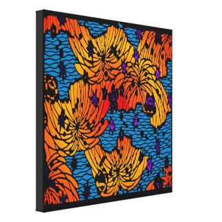 Water Garden Variation in Orange & Blue Canvas Print