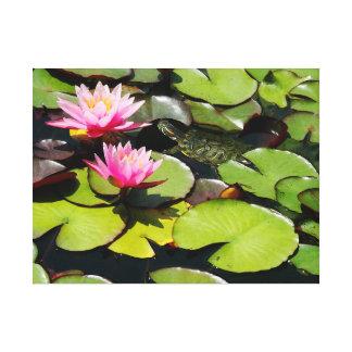 Water Garden Waterlily Flower Turtle Wildlife Canvas Print