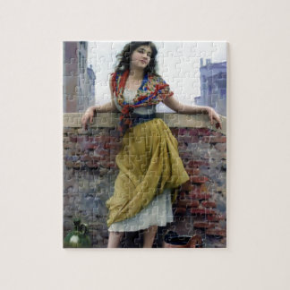 Water Girl Antique Woman painting Jigsaw Puzzles