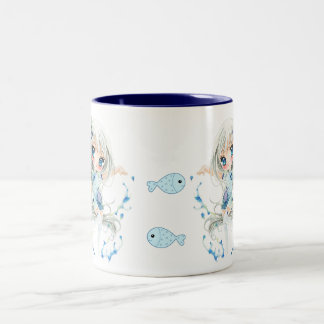 Water girls and kawaii fish Two-Tone coffee mug