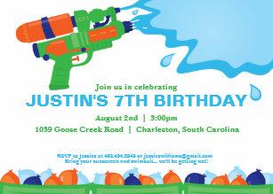 Water party invitations announcements zazzle water gun party invitation stopboris Gallery