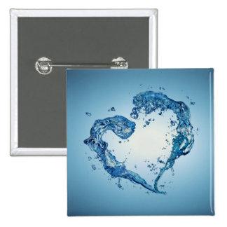 Water Heart Shape - Button