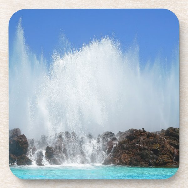 Water hitting rocks on canary islands beverage coaster