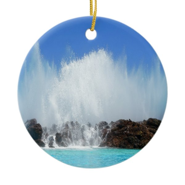 Water hitting rocks on canary islands ceramic ornament