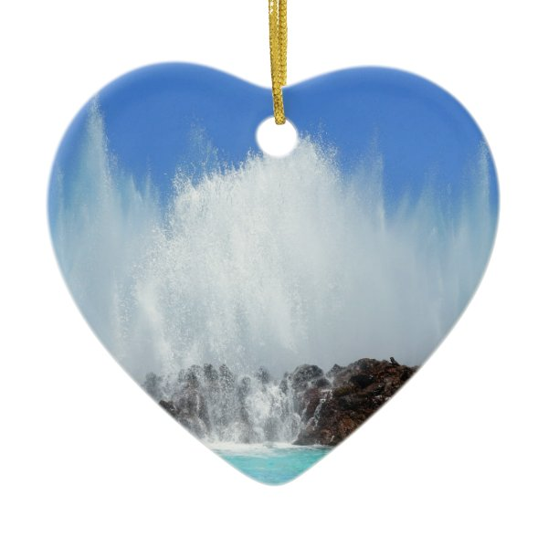 Water hitting rocks on canary islands ceramic ornament