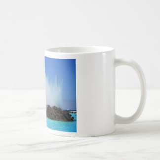 Water hitting rocks on canary islands coffee mug