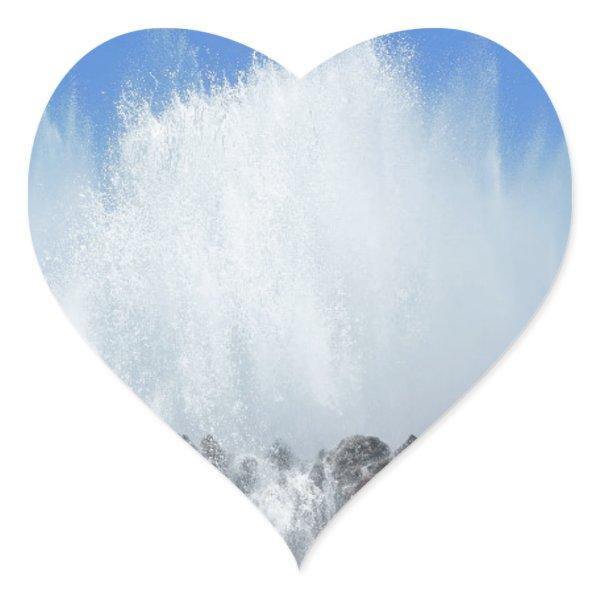 Water hitting rocks on canary islands heart sticker