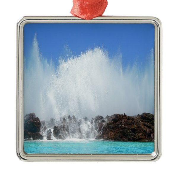 Water hitting rocks on canary islands metal ornament