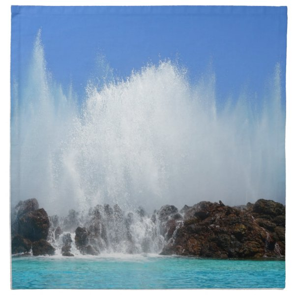 Water hitting rocks on canary islands napkin