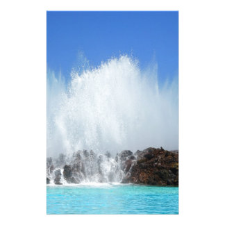 Water hitting rocks on canary islands stationery