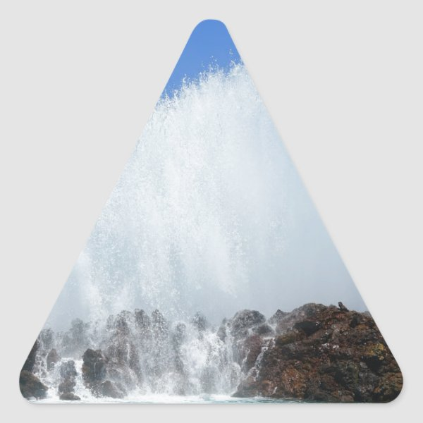 Water hitting rocks on canary islands triangle sticker