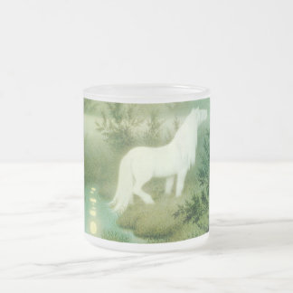 Water Horse Kelpie Spirit Folklore Vintage Art Frosted Glass Coffee Mug