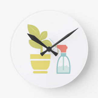 Water House Plant Round Clock