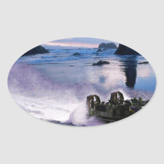 Water Hover Craft Speeds Oval Sticker