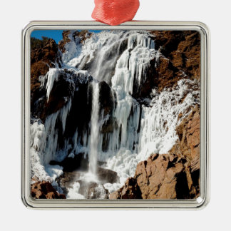 Water Ice Formation On Rocks Metal Ornament