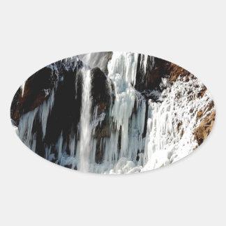 Water Ice Formation On Rocks Oval Sticker