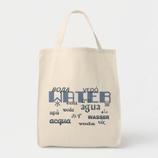 Water in Many Languages, Blue Lettering Tote Bag