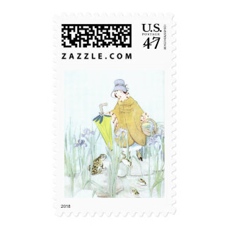 Water Iris and Frogs in the Rain Postage