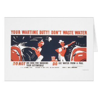 Water Is Important WWII 1942 WPA Card