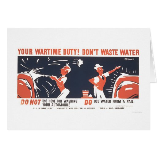 Water Is Important WWII 1942 WPA Greeting Card