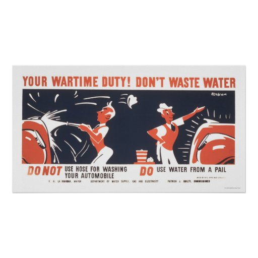 Water Is Important WWII 1942 WPA Poster