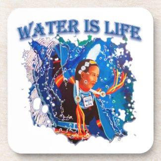 Water is Life - Fancy Shawl Dancer Beverage Coaster