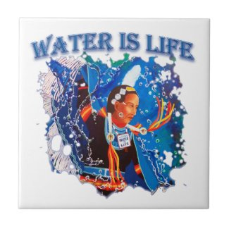 Water is Life - Fancy Shawl Dancer Ceramic Tile