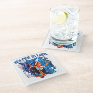 Water is Life - Fancy Shawl Dancer Glass Coaster