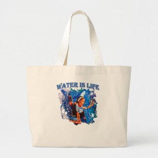 Water is Life - Fancy Shawl Dancer Large Tote Bag