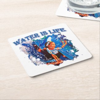 Water is Life - Fancy Shawl Dancer Square Paper Coaster