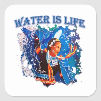 Water is Life - Fancy Shawl Dancer Square Sticker