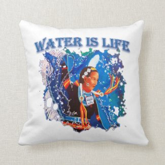 Water is Life - Fancy Shawl Dancer Throw Pillow