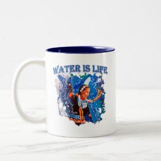 Water is Life - Fancy Shawl Dancer Two-Tone Coffee Mug