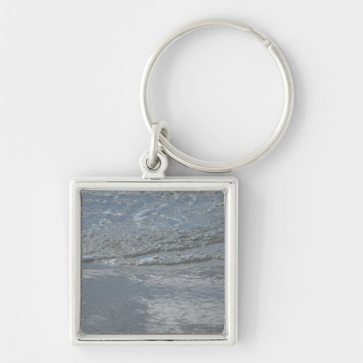 Water Lapping on the Beach Abstract Photography Silver-Colored Square Keychain