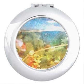 Water level in an aquarium compact mirror
