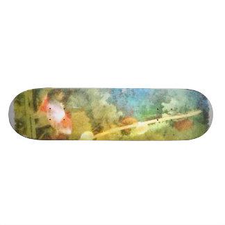 Water level in an aquarium skateboard deck