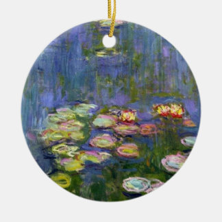 Water Lilies 10 Double-Sided Ceramic Round Christmas Ornament