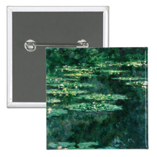WATER LILIES 2 2 INCH SQUARE BUTTON