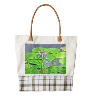 WATER LILIES AMID LILY PADS TOTE ZAZZLE HEART TOTE BAG