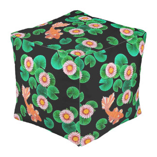 Water Lilies and Koi Fish Cube Pouf