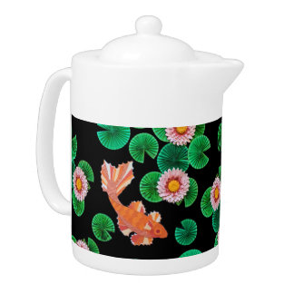 Water Lilies and Koi Fish Teapot