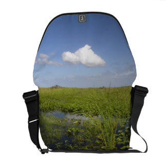 Water lilies and sawgrass in Florida everglades Courier Bag