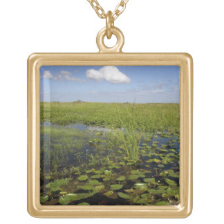 Water lilies and sawgrass in Florida everglades Square Pendant Necklace