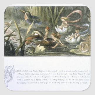 Water-Lilies and Water Fairies, illustration from Square Sticker