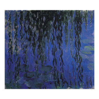 Water Lilies and Weeping Willow Branches -  Monet Print
